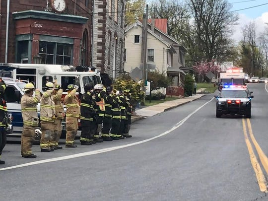 Firefighters and first responders lined the roads of parts of Lebanon and Berks counties to salute their comrade, Robert E. Zerman of Robesonia.