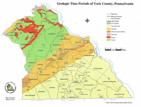 Geology map of York County.  The green area is northern York County is the Mesozoic rift valley.  The green represents Triassic sedimentary rocks and the red is the diabase of Jurassic age.