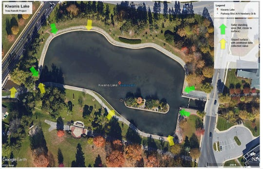 Overview of present-day Kiwanis Lake. Arrows indicate possible locations of Smart Lake Technology to monitor and sustain the improved lake.