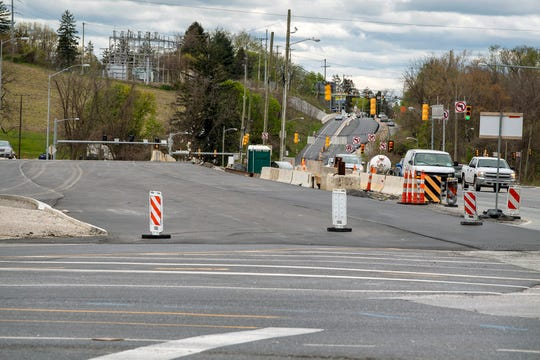 A new bridge is paved over Interstate 83 on Mount Rose Avenue on April 27, 2020. Crews plan to switch traffic onto the new span soon.