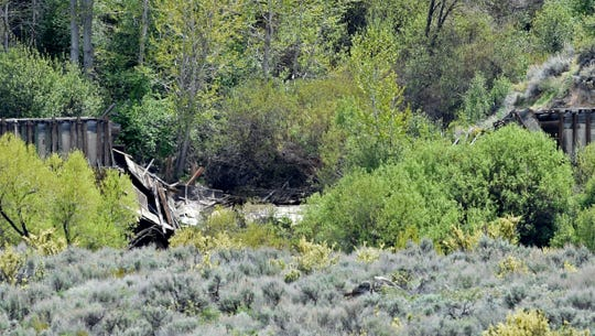 A section of the Verdi flume has blown dropping debris into the Truckee River..