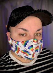 Pride mask for $15 at lucianddona.com. Half of proceeds to go to Out Alliance.