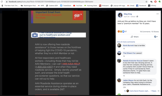 "A screenshot of a photo nurse Meg King posted to Facebook. Pictured, a capture of an AAA email offering free roadside assistance to ""those heroes on the frontlines of helping fight the COVID-19 pandemic."" April 20, 2020."