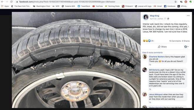 "A Facebook photo Meg King shared of her blown tire. The caption reads ""Interior wall, back tire. I check my tires regularly, PSI, tread, etc, did not see this coming. And yes, I know how to change my own tire:) I drive a 2016 Lexus, NX 300 Hybrid. I am not sure how it blew."" April 20, 2020."