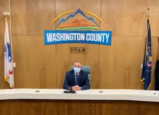 """Washington County Commissioner Dean Cox speaks Monday during an online news conference announcing new plans countywide to attempt a """"targeted"""" reopening of some businesses and services amid the coronavirus pandemic."""