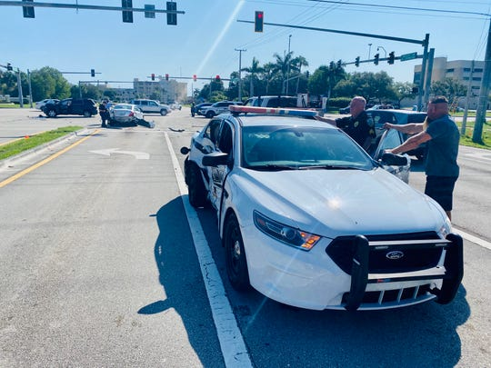 A multi-vehicle crash involving a Port St. Lucie Police Department officer occurred at the intersection of Southeast Lyngate Drive and U.S. Highway 1 on Monday, April 27, 2020.