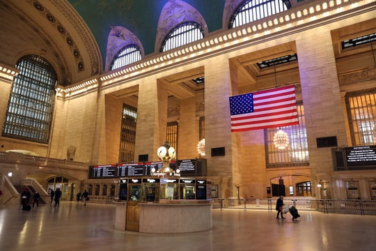 A less than normally crowded Grand Central Station April 27, 2020 in Manhattan.