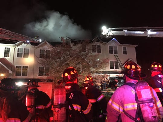 Minquas Fire Company personnel battled a blaze at Clearview Ridge townhomes early Monday morning. No human injuries were reported, but first responders treated a cat that was saved from a burning townhome.