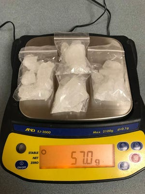 A Wood County deputy found 57 grams of methamphetamine after stopping  a bicyclist behind a Wisconsin Rapids school Saturday evening, according to the Wood County Sheriff's Department.