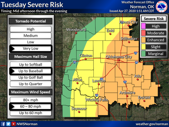 Storms that form in and to the east of the city Monday night are not expected to be severe.