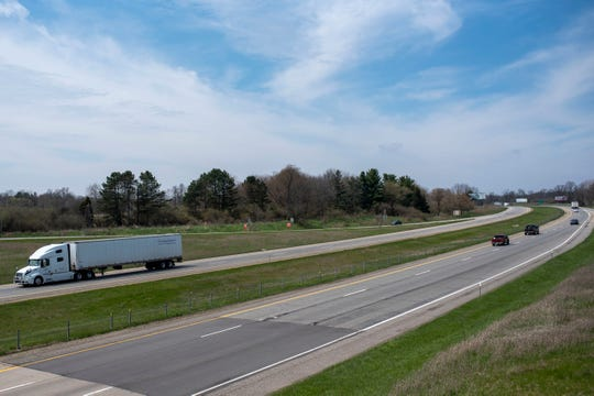 Vehicles travel east and west through Marshall, Mich. via Interstate 194 on Tuesday, April 28, 2020. Despite statewide travel restrictions, police say speeds are up in Calhoun, County.