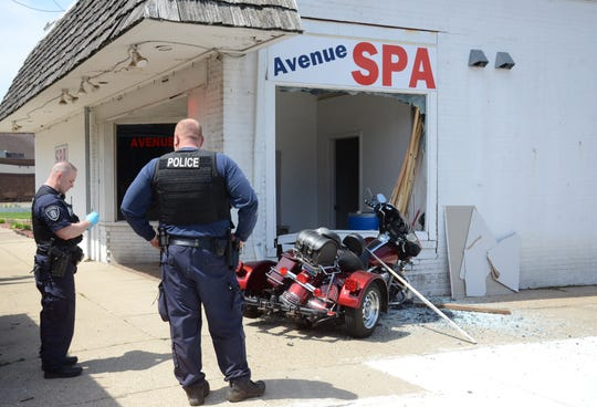 A 71-year-old man was hurt when his motorcycle hit a building Tuesday in Battle Creek.  Trace Christenson/The Enquirer