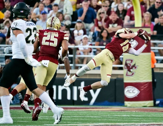 Mike Palmer, intercepting a pass last season against Wake Forest.