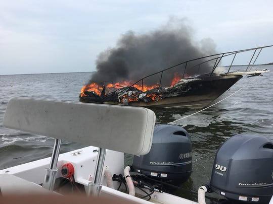 The Titusville Fire Department boat tied off of the burning watercraft to prevent it from drifting to the Merritt Island National Wildlife Refuge and sparking a brush fire, Battalion Chief Greg Sutton said.