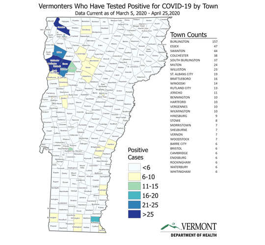 A town-by-town map of COVID-19 cases across Vermont, developed by the Vermont Department of Health, as of April 25, 2020. Long-term care facilities and correctional facilities are included in the towns those facilities are based in.
