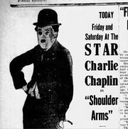 """An advertisement for """"Shoulder Arms"""" at the Star Theater in Chillicothe in December 1918."""