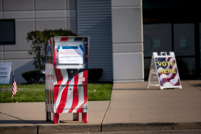 The ballot dropbox is in front of Butler County Board of Elections in Hamilton, Ohio on Tuesday, April 28, 2020.