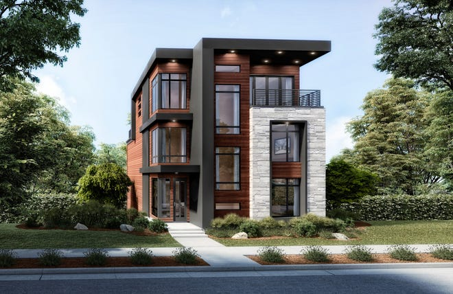 An artist's rendering of The Rosewood - a four-bed, four-and-a-half-bath, four-level home from Justin Doyle Homes that will be featured at Cincinnati's first Homearama showcase of luxury homes this fall. The home is currently for sale for $1,185,999.
