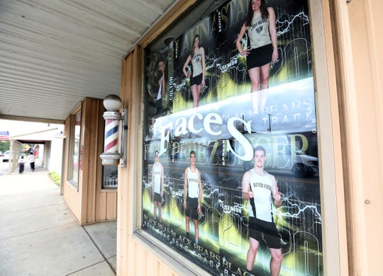 Faces Salon is one of several area businesses in Warsaw displaying senior athlete posters. Businesses rallied together to show their support for area seniors.