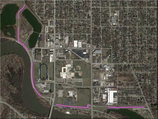 The areas in pink show where there is seepage in the Birdland Park levee, causing millions of dollars in needed repairs.