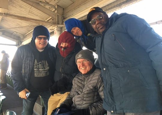 Ray Blase, second from left, and friends during a very chilly Cubs game last April.