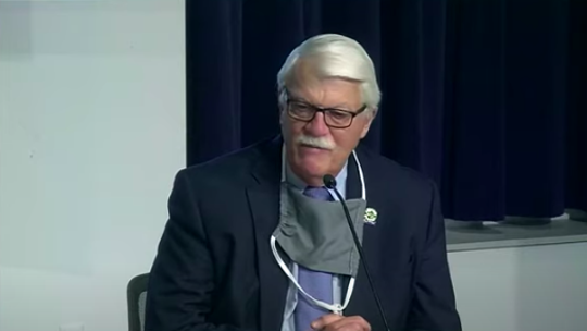 """""""Sometimes the hotter the fire, the stronger the steel,"""" said Larry Roehrig, president of AFSCME Council 25, at a City of Detroit press conference Tuesday, April 28, 2020, on the novel coronavirus."""