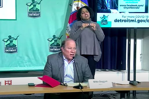 Detroit Mayor Mike Duggan speaks at a press conference on the city's response to the coronavirus on Monday, April 27, 2020.
