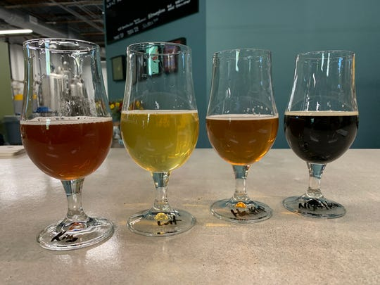 Beers from Brewery Faisan on Oct. 24, 2019, in Detroit.