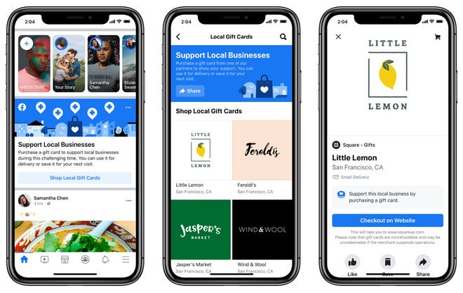 Facebook has a place for people to discover digital gift cards for their favorite local U.S. restaurants and businesses.