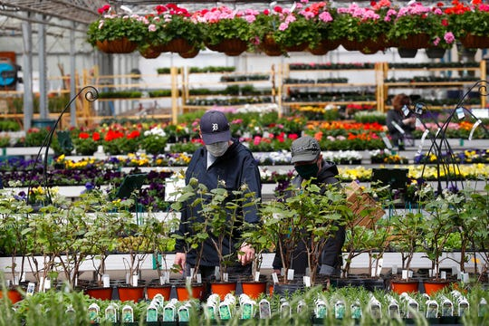 Shoppers look at plants at a nursery in Macomb, Mich., Monday, April 27, 2020. Business groups are pushing Congress to limit liability from potential lawsuits filed by workers and customers who were infected by the coronavirus.