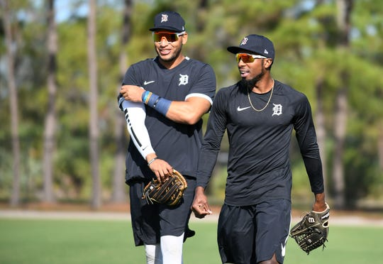 Outfielders Victor Reyes, left, and Travis Demeritte both played at least 48 games with the Tigers last season.