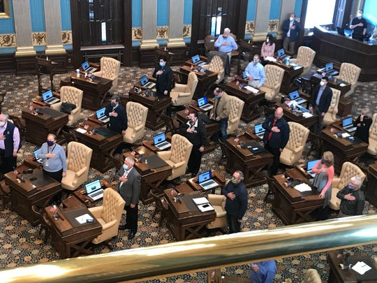 The Michigan Senate meets on Tuesday, April 28, 2020, amid the COVID-19 pandemic.