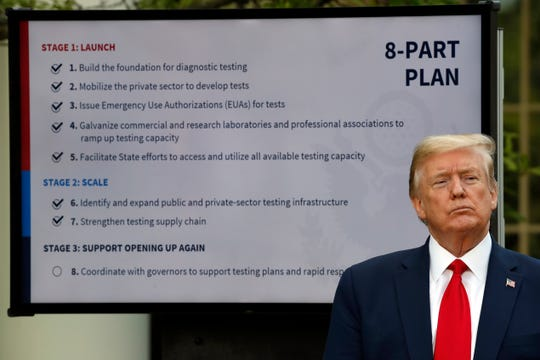 President Donald Trump listens during briefing about the coronavirus in the Rose Garden of the White House, Monday, April 27, 2020, in Washington. (AP Photo/Alex Brandon)