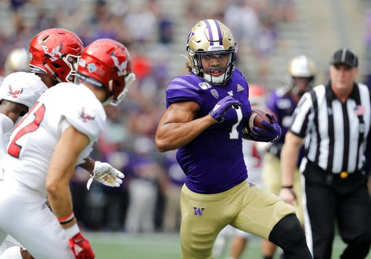 Washington tight end Hunter Bryant is one of seven undrafted free agents the Lions signed.