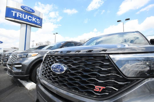 Ford logo on an Explorer at the Royal Oak Ford dealership in Royal Oak, Michigan on April 28, 2020.