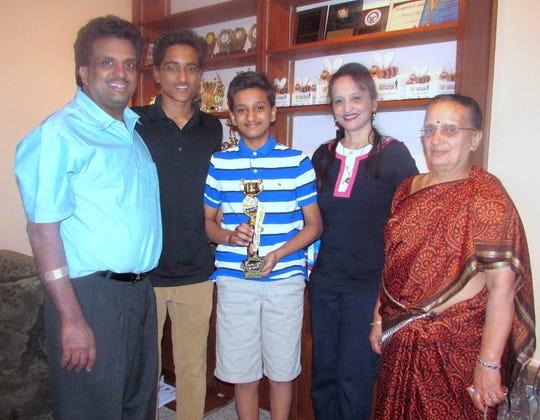 The Hathwar family of Painted Post in 2016. From left, father Jagadeesh, Sriram, Jairam, mother Roopa, and grandmother Bhageerathi Hathwar.