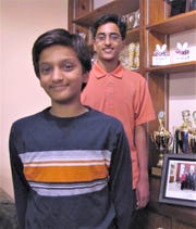 Jairam Hathwar, foreground, of Painted Post, and his older brother Sriram, in 2015.