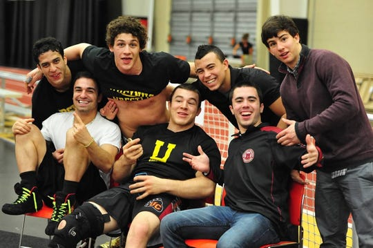 Horseheads' Dan Manganaro, third from left, with Ursinus College wrestling teammates, left to right, Tony Carlo, Giancarlo Morreale, Christian Psomas, Joey Cruz, Kevin Medina and Kenny Hayes.