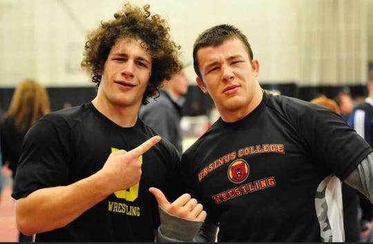 Dan Manganaro, left, with Ursinus College wrestling teammate Christian Psomas during their college days.