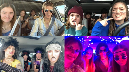 "Dave and Treena Schepp of De Pere, and their teen daughters, Emma and Trista, sport a lot of different looks in their ""Schepp Coronacation Carpool Karaoke"" video."