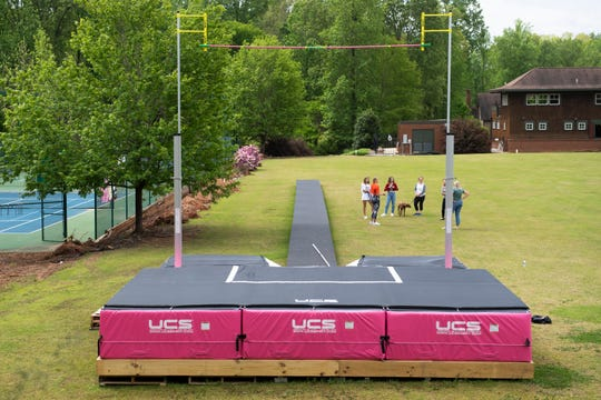 Pole vaulter Sandi Morris and her father Harry built a  runway and landing pit for her to practice near her parents' home. Photo taken Saturday, April 25, 2020.