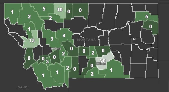 Cascade and Yellowstone counties each reported one new case of COVID-19 on Tuesday. The state now tracks active cases at www.covid19.mt.gov.