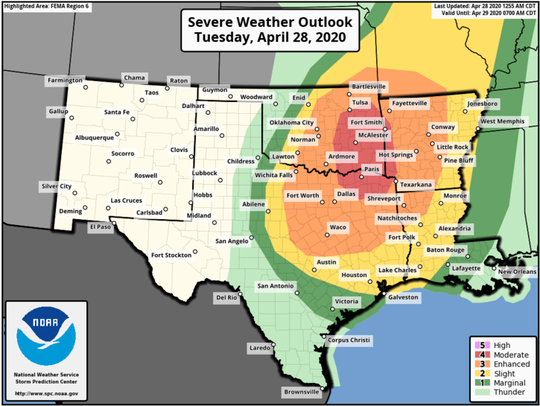 Acadiana and Louisiana are expected to see severe weather as a system moves through the area. This graphic from the National Weather Service, issued April 28, shows the chance of an area experiencing severe weather.