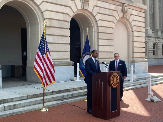 Kentucky Attorney General Daniel Cameron speaks outside the Capitol in Frankfort. April 28, 2020