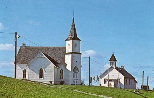 Late 1980s image of Pinecrest Historical Village's Niles Community Church (left) and Shadyside School (right).