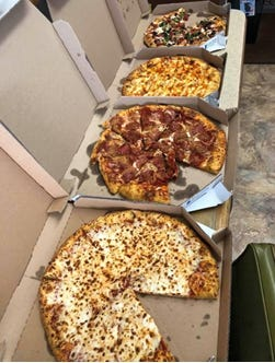These Domino's pizzas were donated to Estep Express in Mansfield.