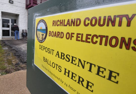 A voter enters the Richland County Board of Elections on Tuesday morning.