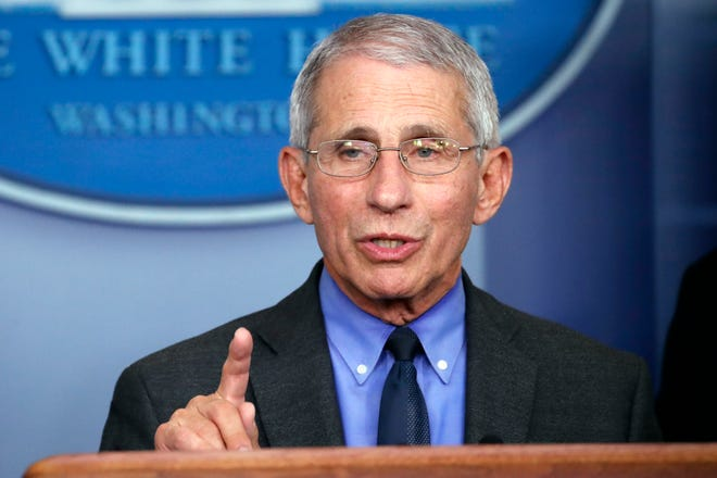 Dr. Anthony Fauci, director of the National Institute of Allergy and Infectious Diseases, speaks about the coronavirus in Washington.