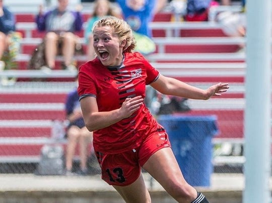 Muskego girls soccer player Jackie Jares celebrates after scoring the game-winning goal in the 2019 WIAA state girls soccer tournament semifinal.