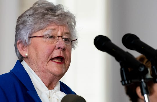Governor Kay Ivey announces continued social distancing during her coronavirus update at the state capitol building in Montgomery, Ala., on Tuesday April 28, 2020.